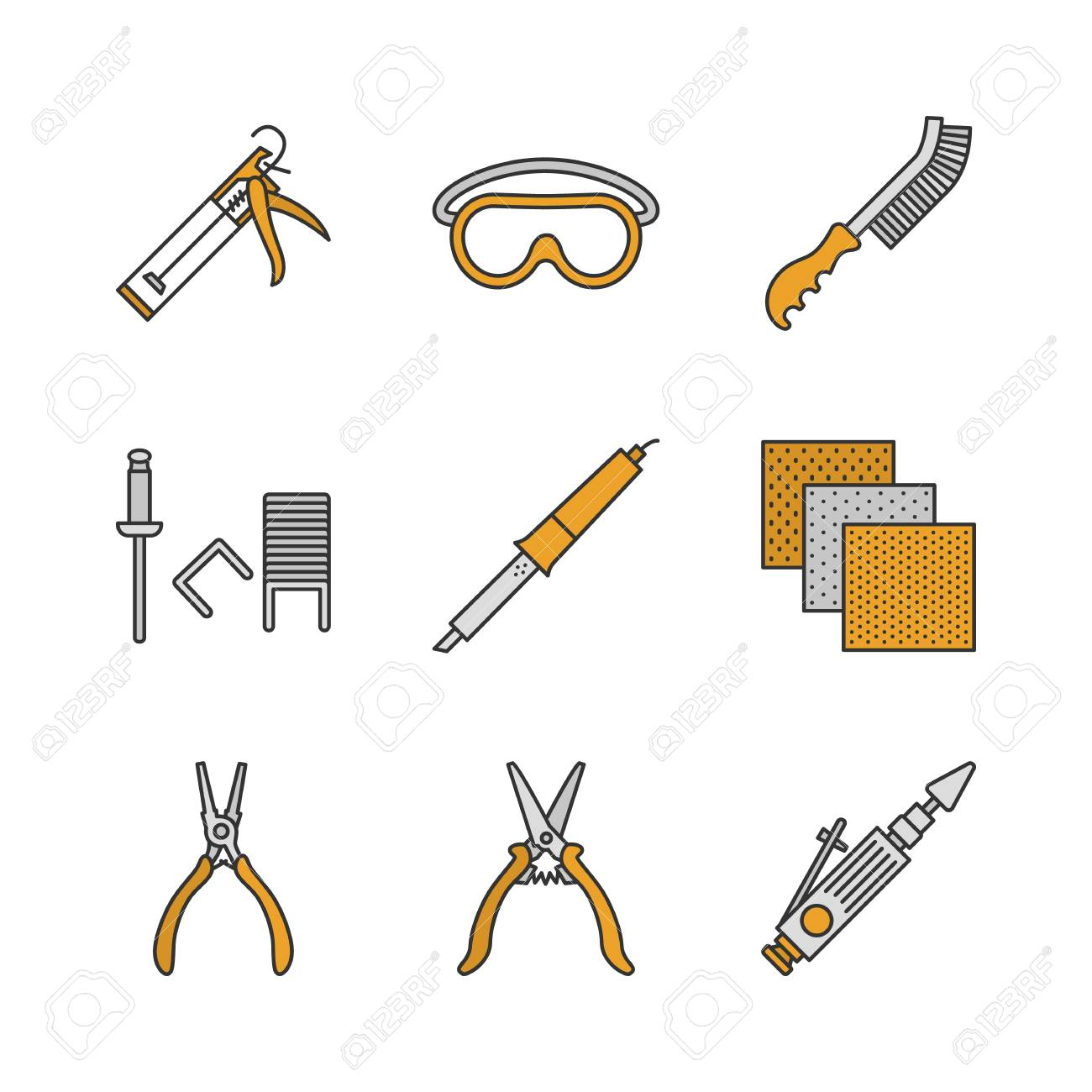 Construction Tools Color Icons Set. Caulking Gun, Goggles, Wire ...