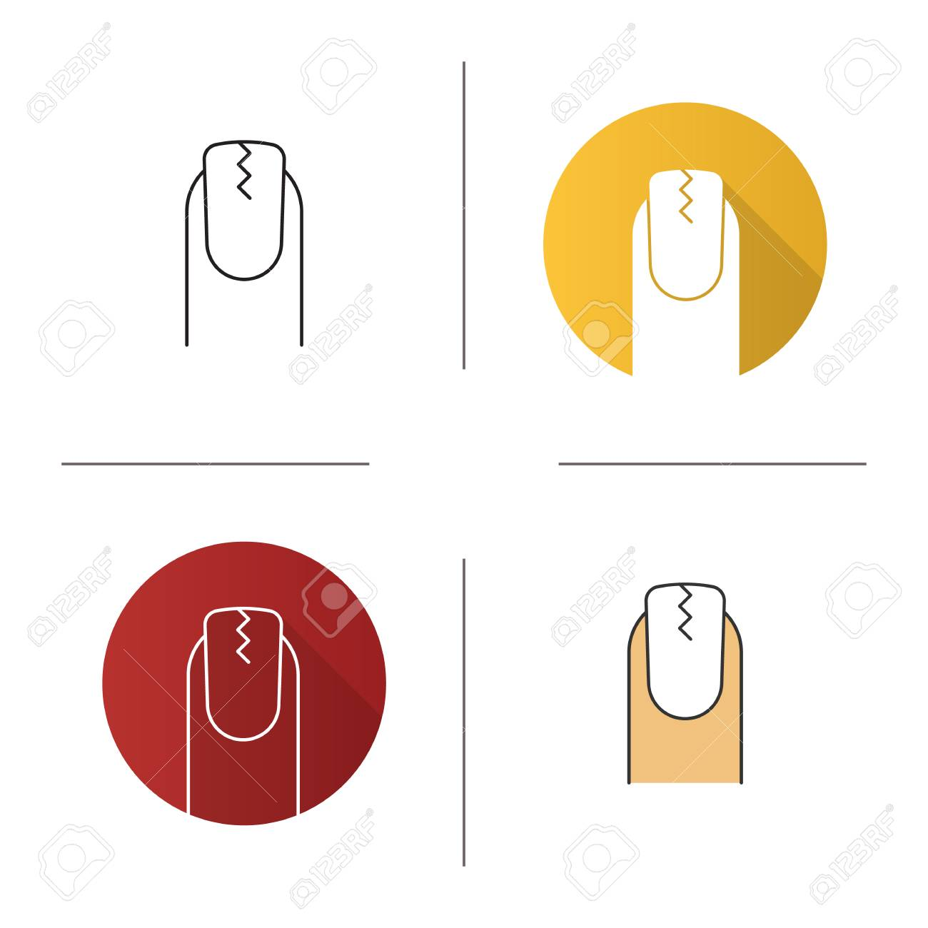 Cracked Fingernail Icon. Flat Design, Linear And Color Styles ...