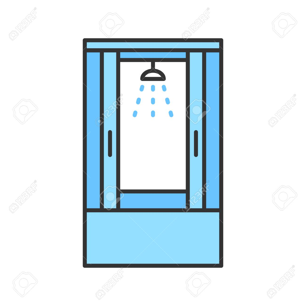 Shower Cabin Color Icon. Shower Stall, Cubicle. Isolated Vector ...