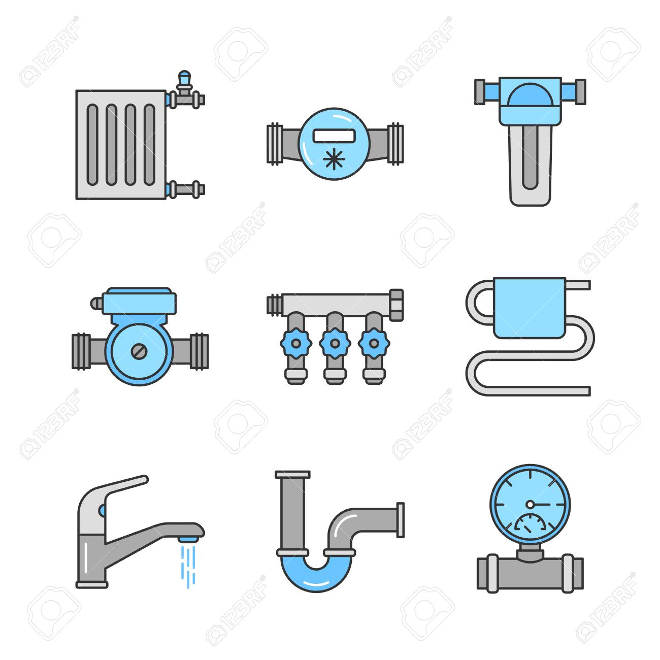 Plumbing color icons set. Radiator, water meter, pump and filter, pressure gauge, manifold tap, towel rail, faucet, pipe. Isolated vector illustrations - 93837389