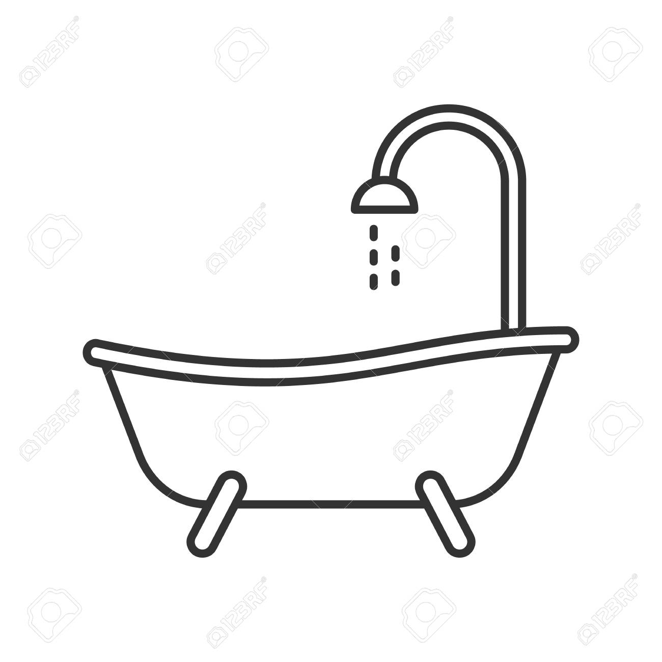 Bathtub Linear Icon Thin Line Illustration Bath Contour Symbol