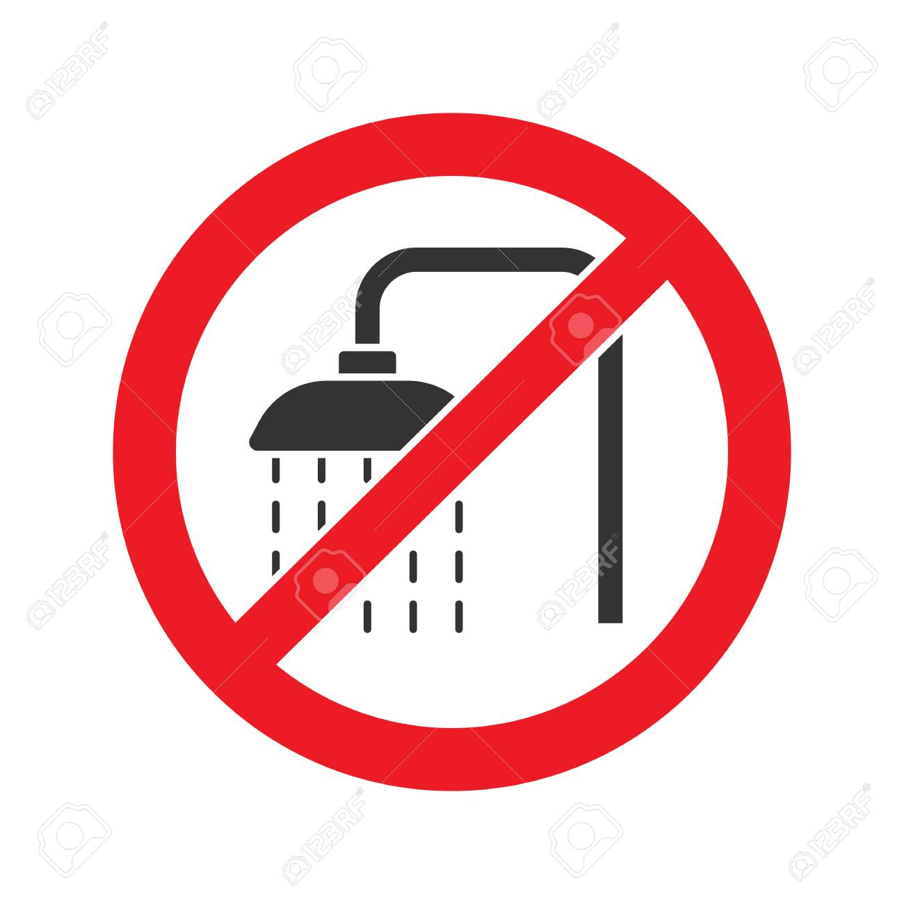Forbidden sign with shower faucet glyph icon. Stop silhouette symbol. Do not use unit in water. Negative space. Vector isolated illustration - 93837429