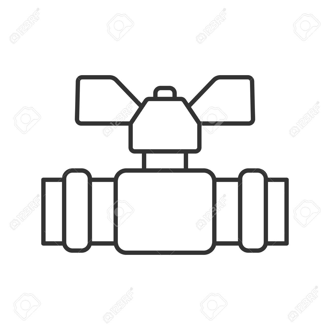 Plumbing Valve Linear Icon Thin Line Illustration Water Tap
