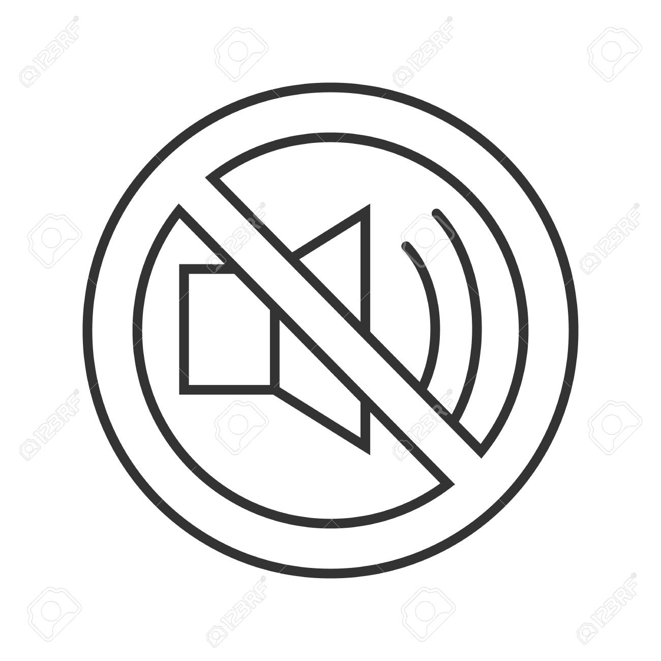 Forbidden Sign With Loudspeaker Linear Icon Thin Line Illustration