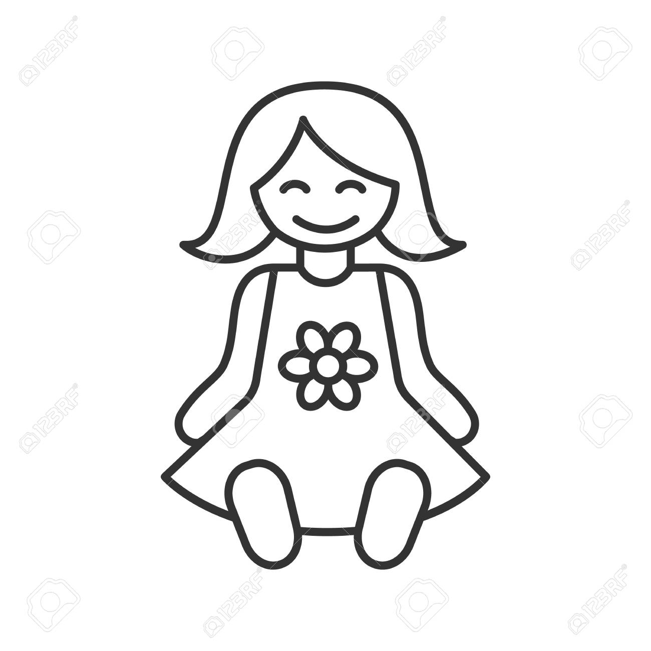Baby doll linear icon thin line illustration contour symbol vector isolated outline drawing