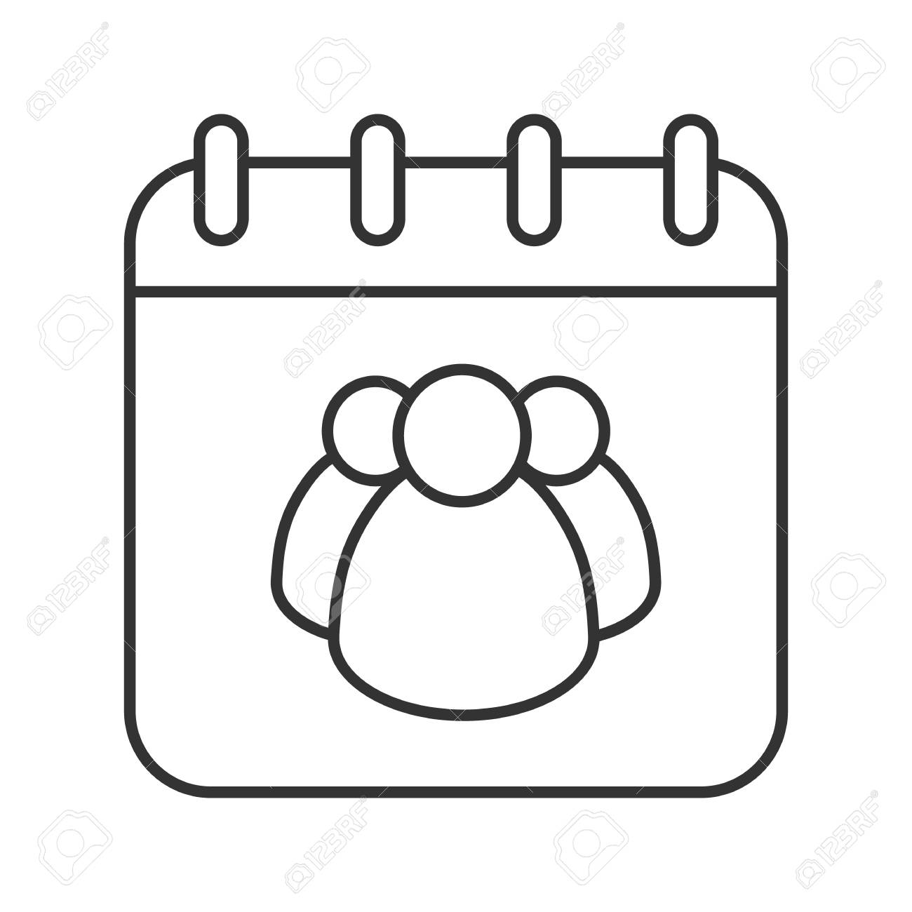 group calendar linear icon thin line illustration team work schedule calendar page with group