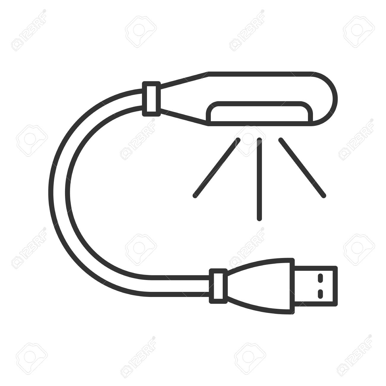 Usb Lamp Linear Icon Thin Line Illustration Lamp For Computer