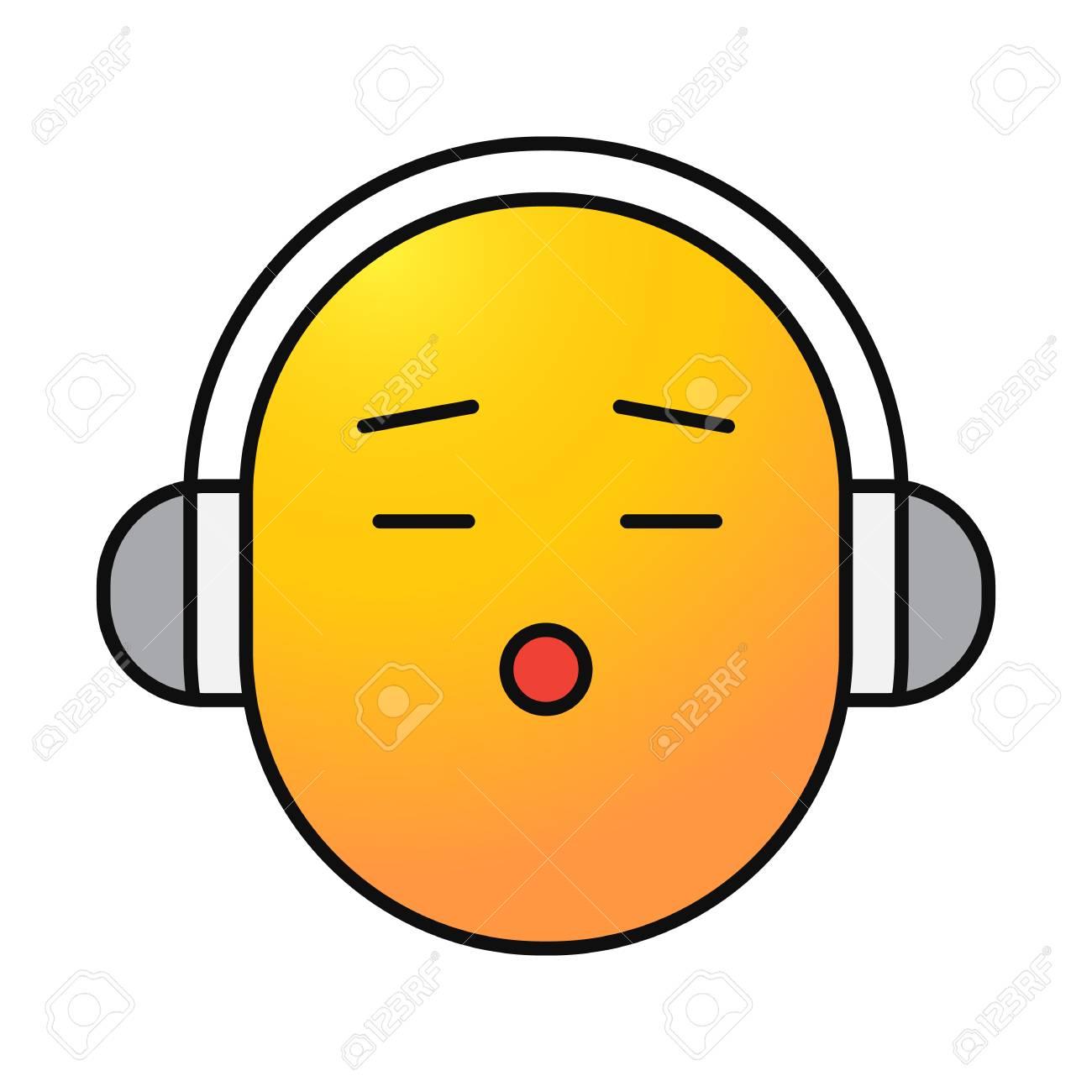 Sourire Avec L Icone De Couleur Des Ecouteurs Ecouter De La Musique Smiley Illustration Vectorielle Isole Clip Art Libres De Droits Vecteurs Et Illustration Image 94959212