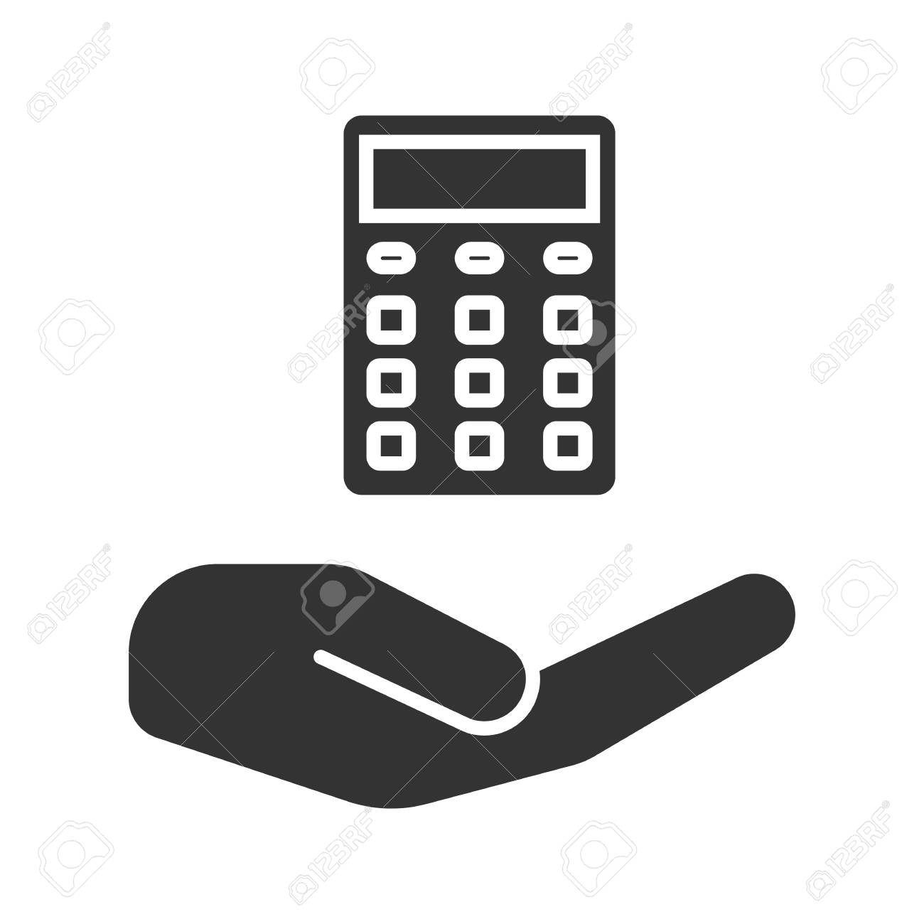 Open hand with calculator glyph icon  Silhouette symbol  Accounting,
