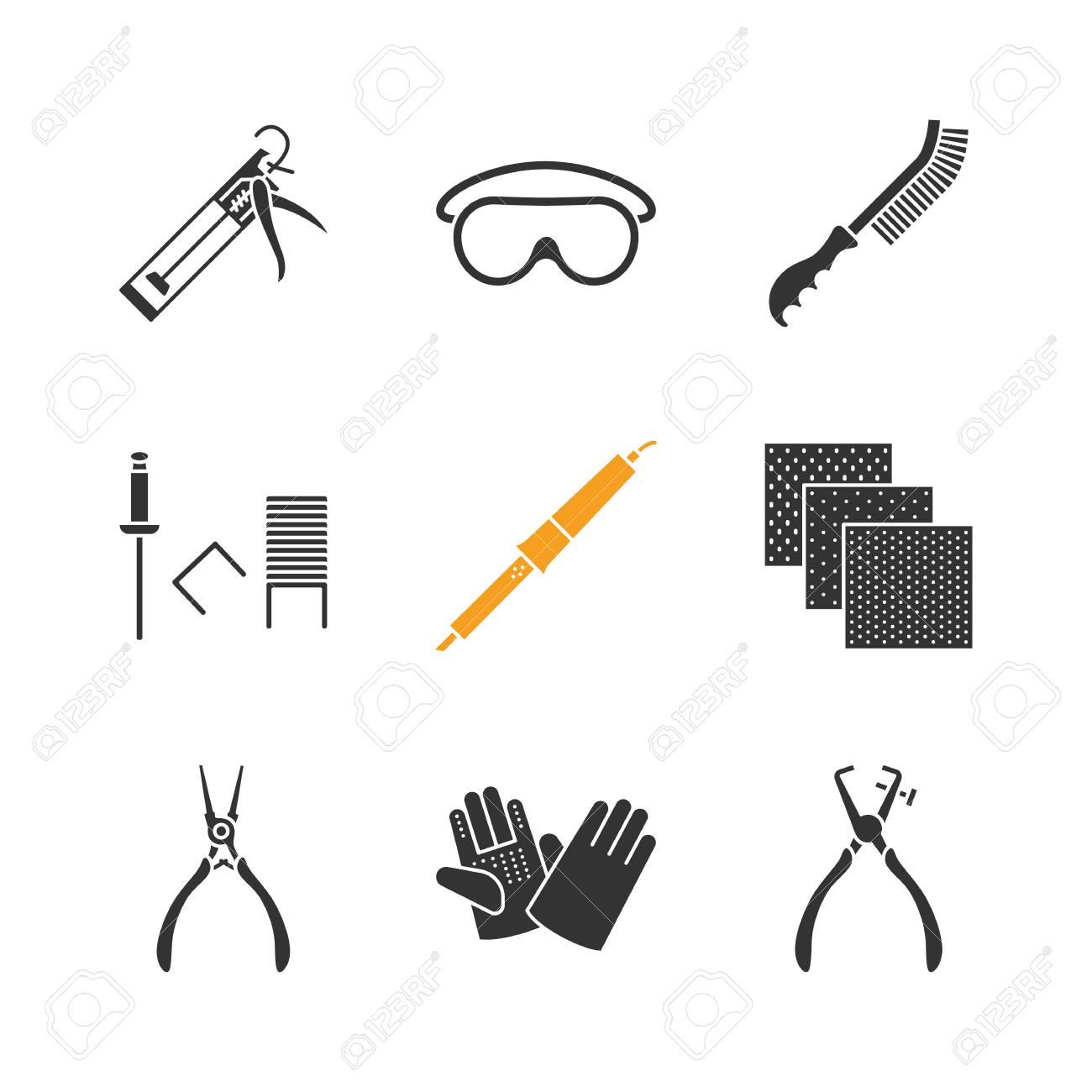 Construction Tools Glyph Icons Set. Caulking Gun, Goggles, Wire ...