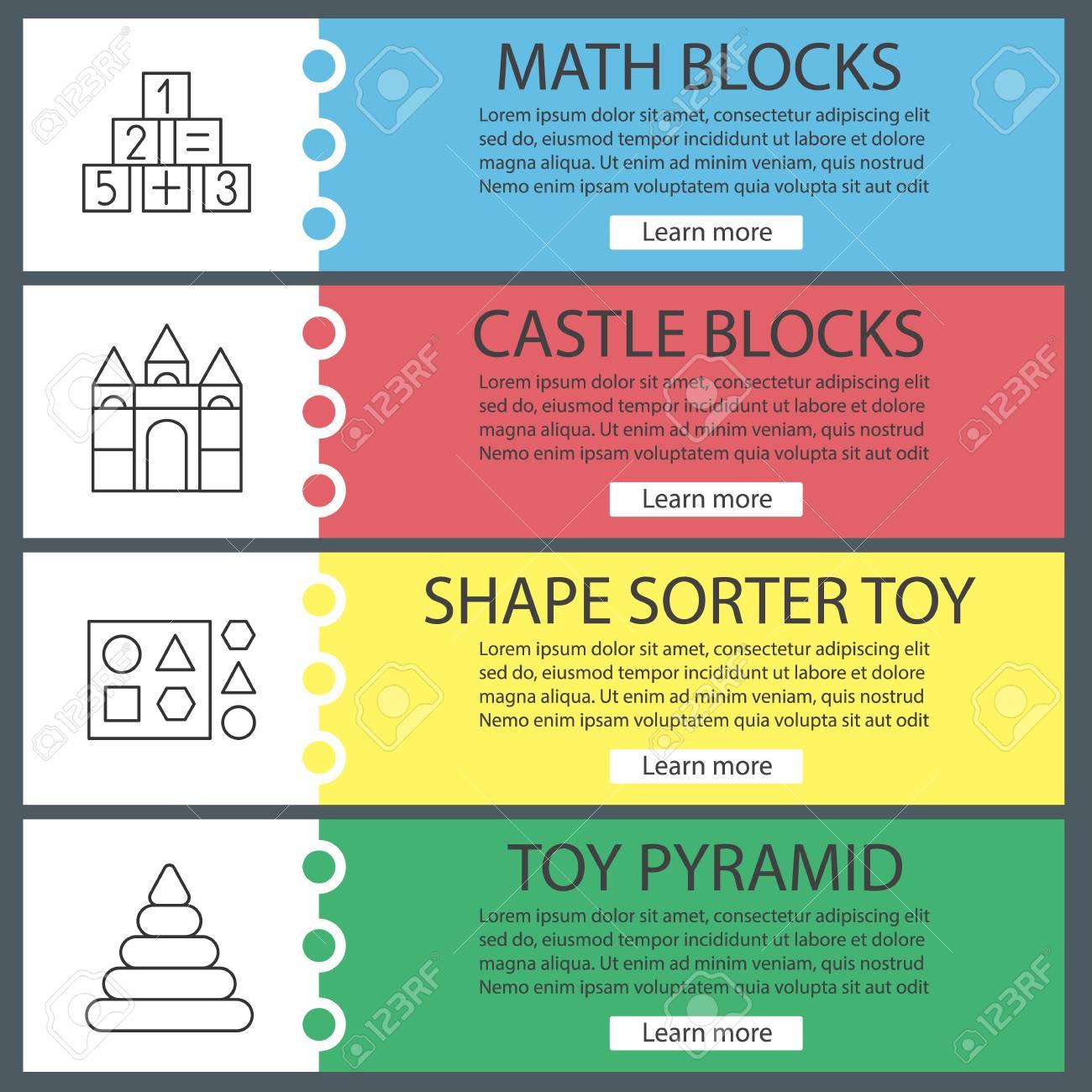 Kids Toys Web Banner Templates Set. Math And Castle Blocks, Shape ...