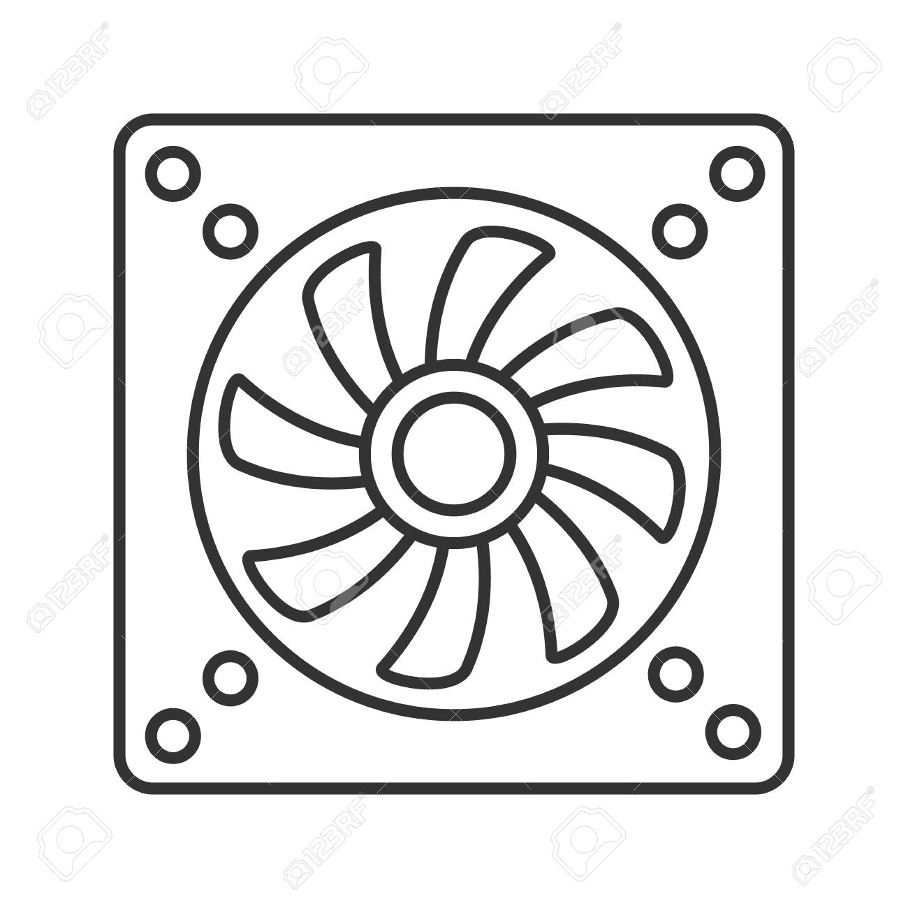 Exhaust Fan Linear Icon Conditioning Thin Line Illustration