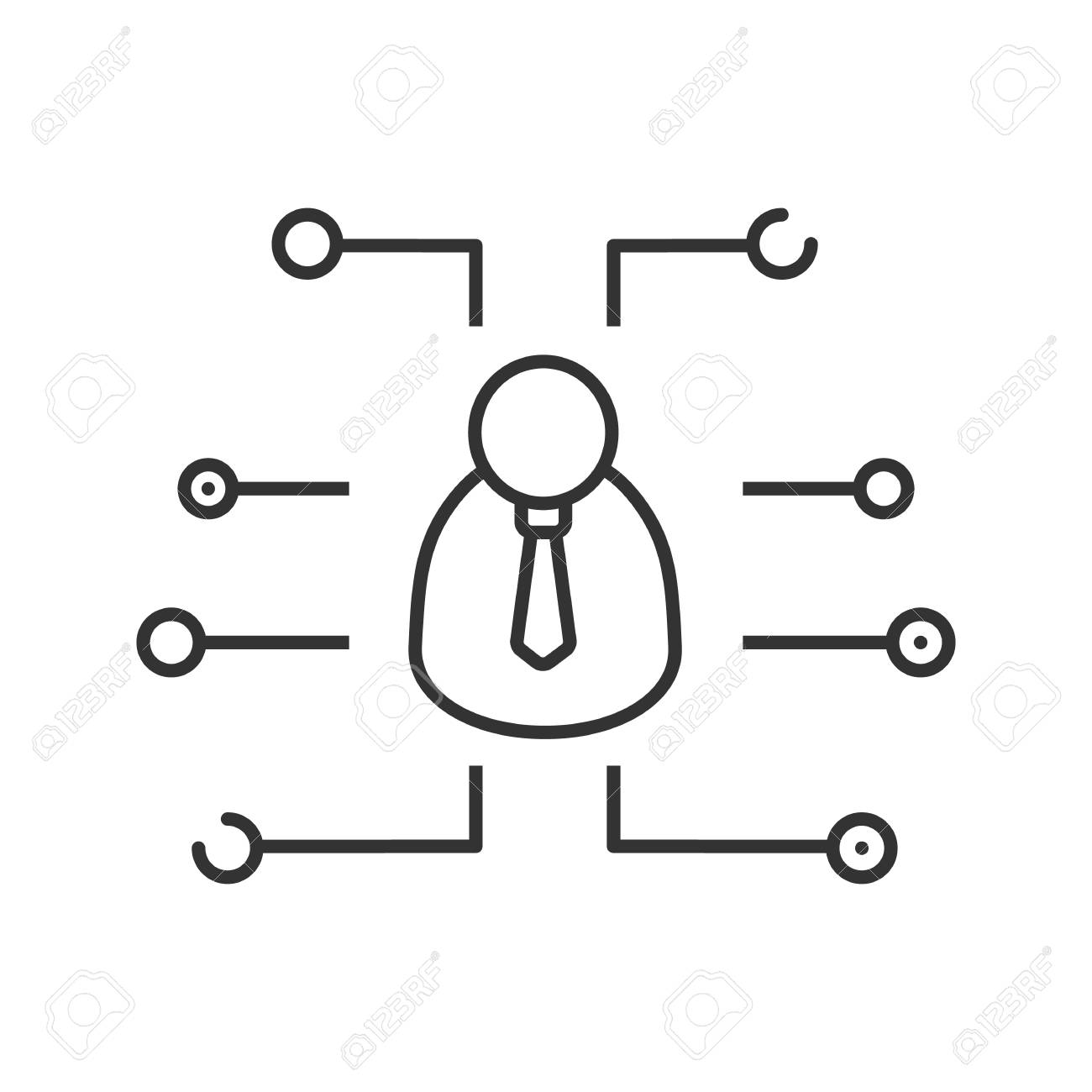 Digital Manager Linear Icon. Thin Line Illustration. Admin. User ...