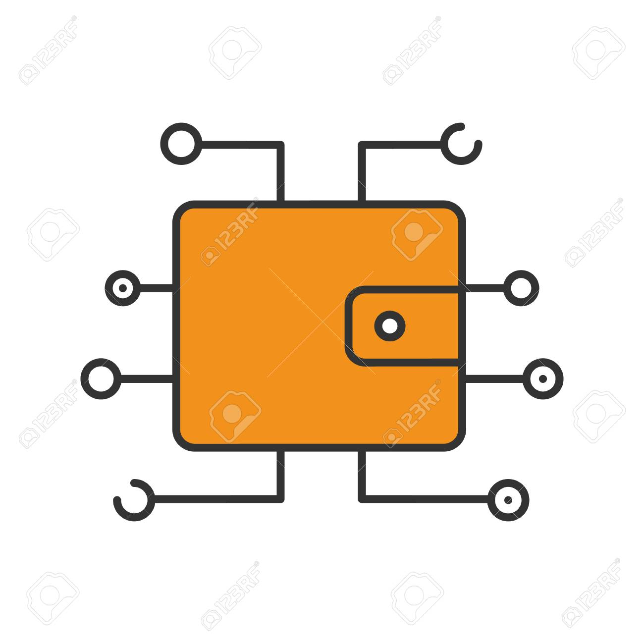 Digital Wallet Color Icon Cryptocurrency Payment Stock Vector
