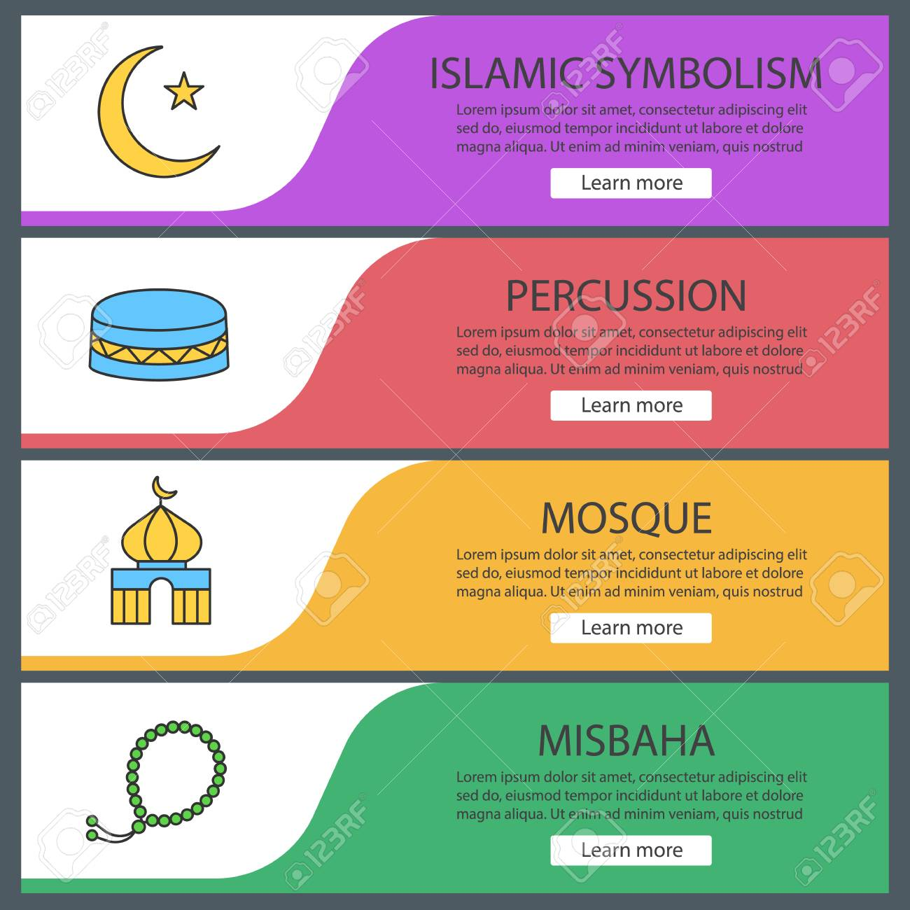 Islamic Culture Web Banner Templates Set Crescent Moon And Star