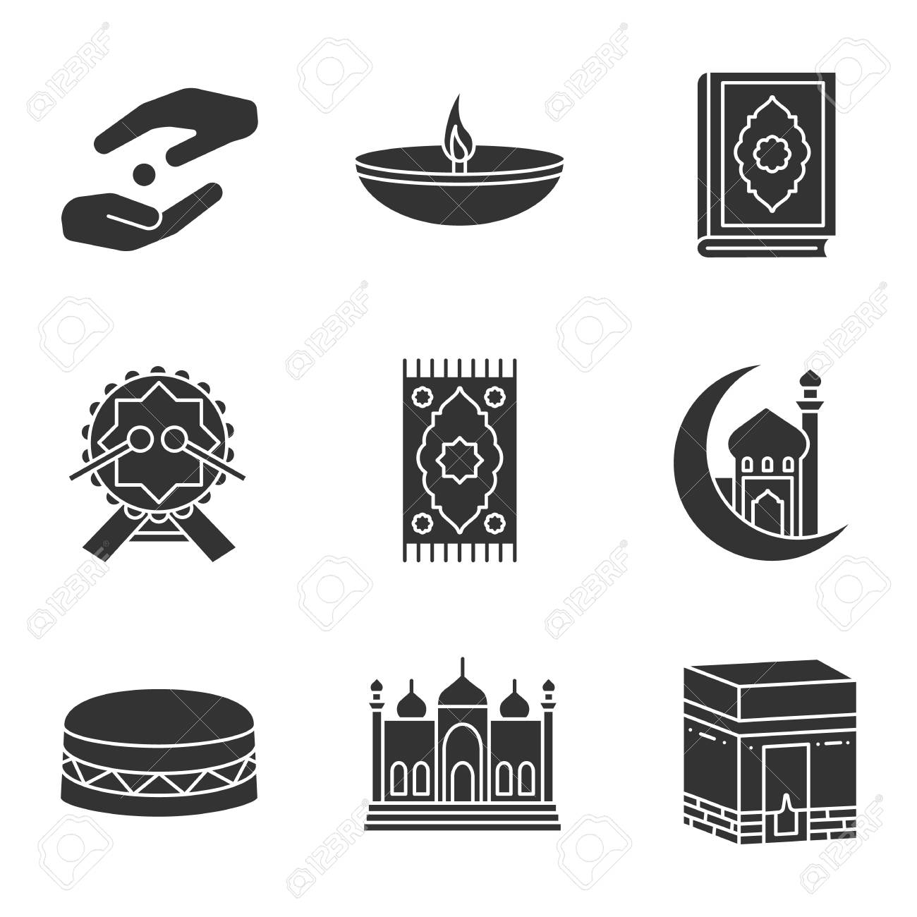 Islamic Culture Glyph Icons Set Silhouette Symbols Vector Isolated