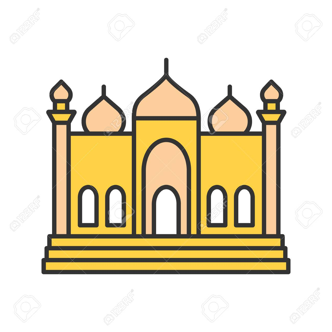 Mosque Color Icon Islamic Culture Muslim Worship Place Isolated