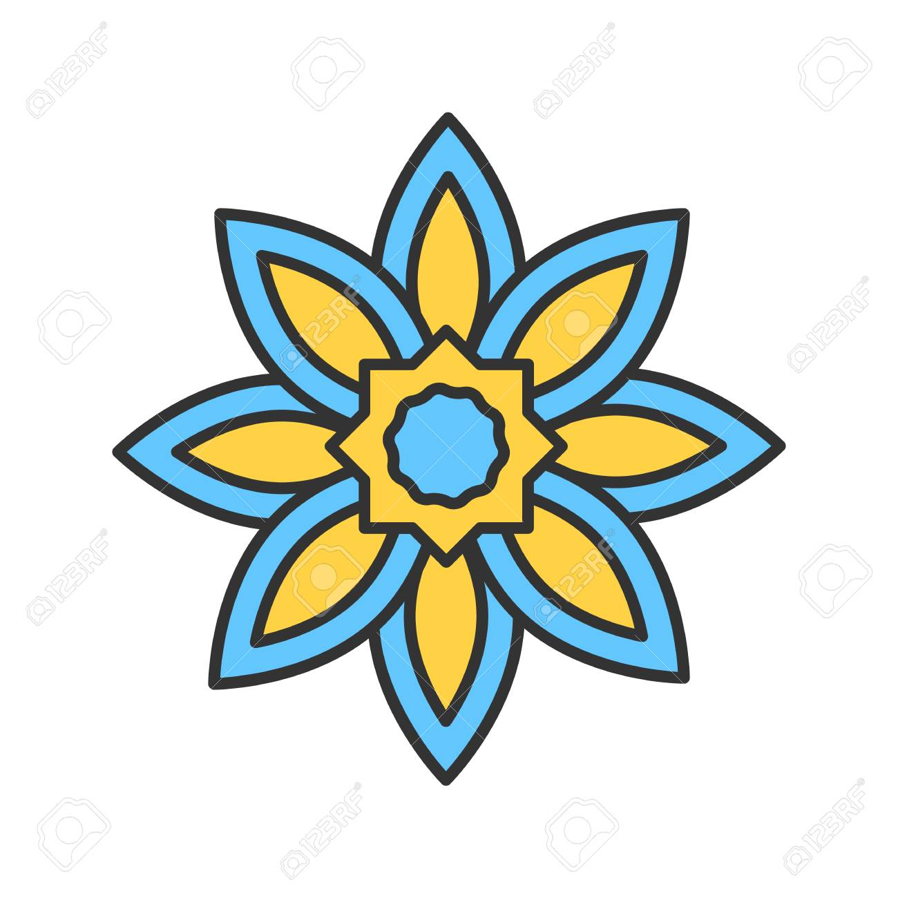 Islamic Star Color Icon Religious Symbolism Muslim Art Isolated