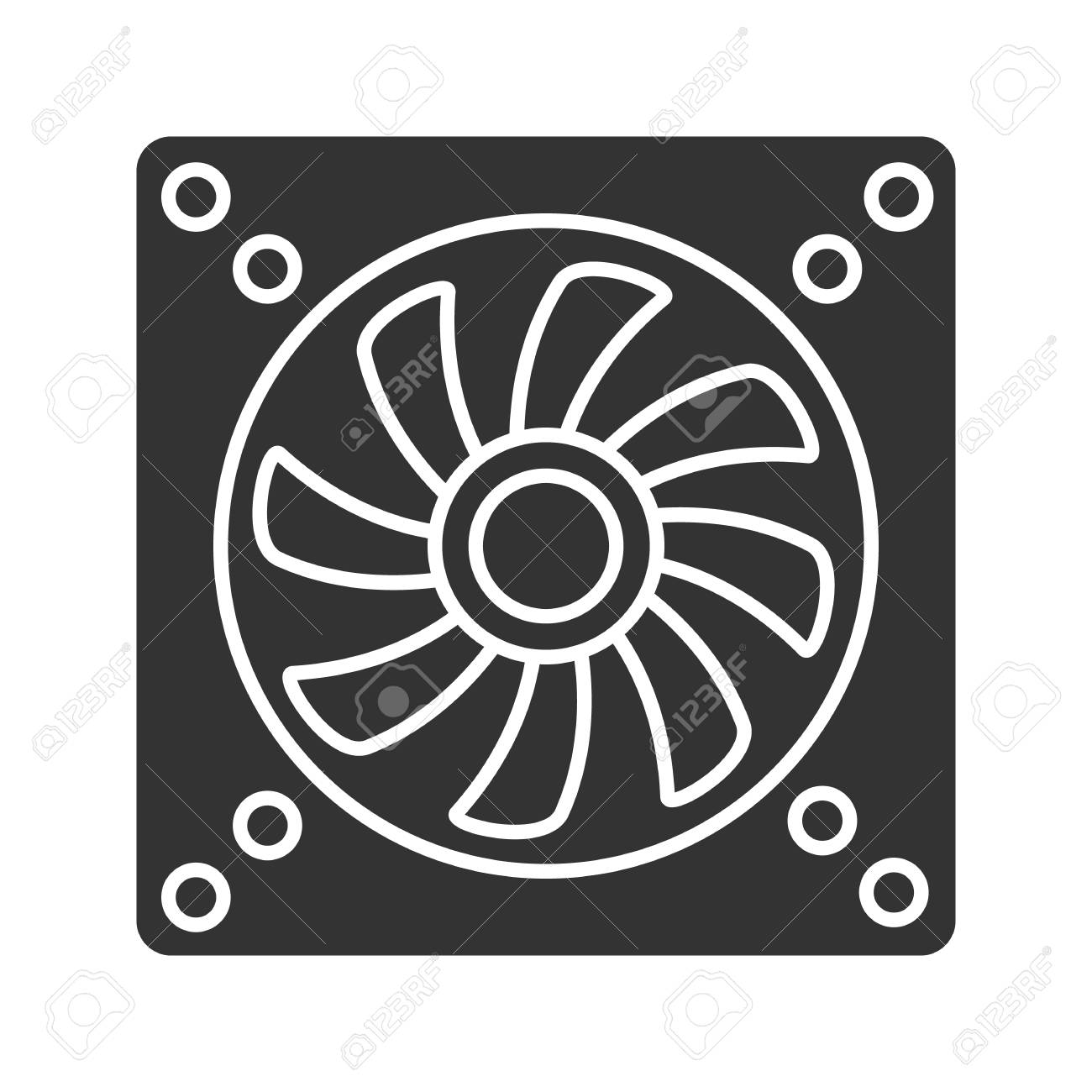 Exhaust Fan Glyph Icon Conditioning Silhouette Symbol Air
