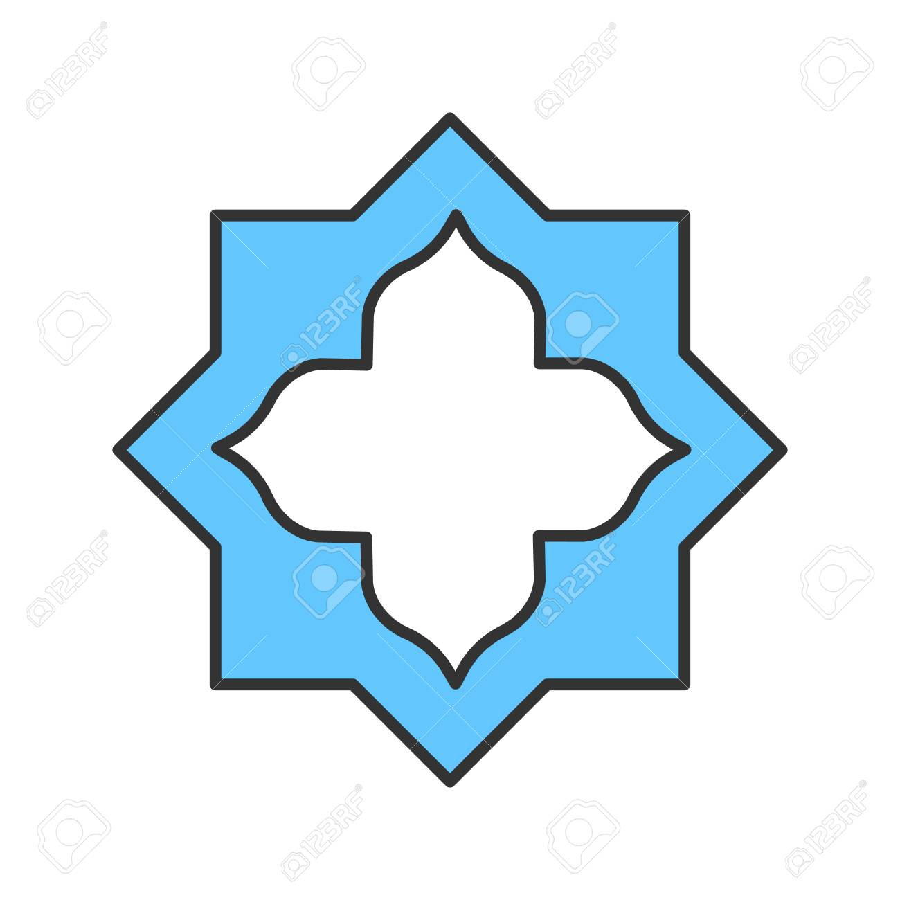 Islamic Star Color Icon Muslim Art Isolated Vector Illustration