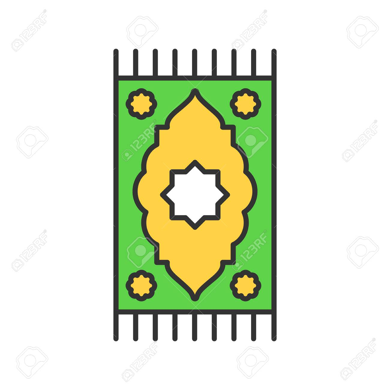 Praying Mat Color Icon Of Islamic Culture Isolated Vector