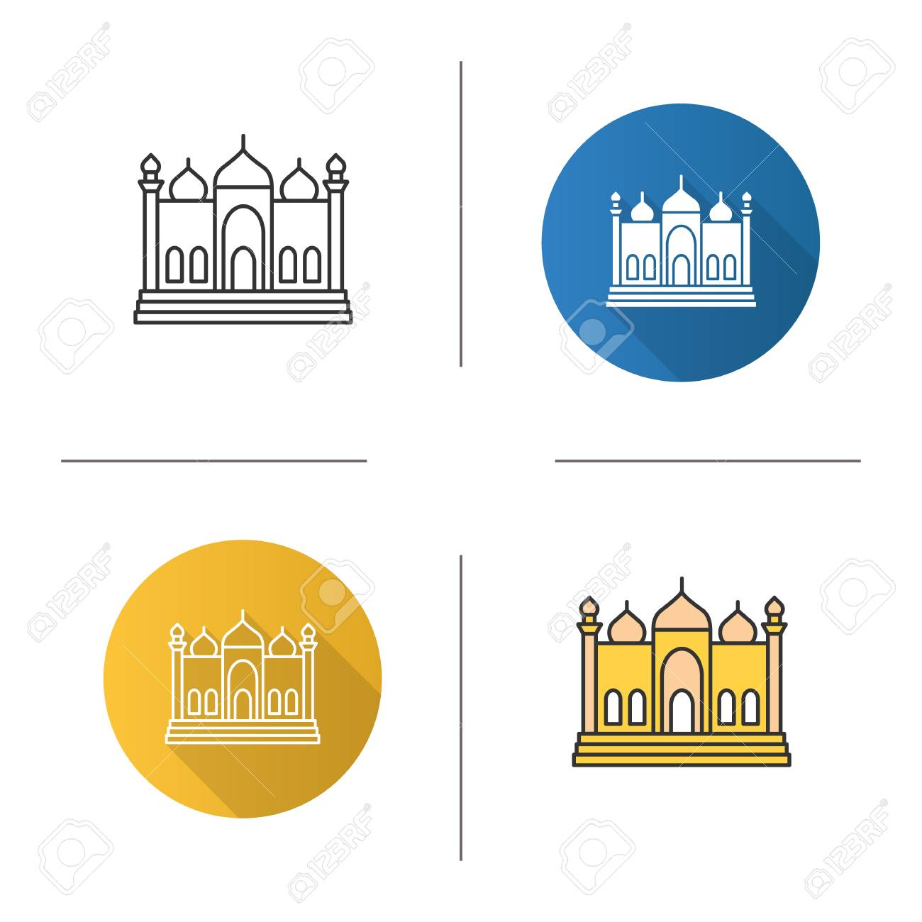 Mosque Icon Flat Design Linear And Color Styles Islamic Culture