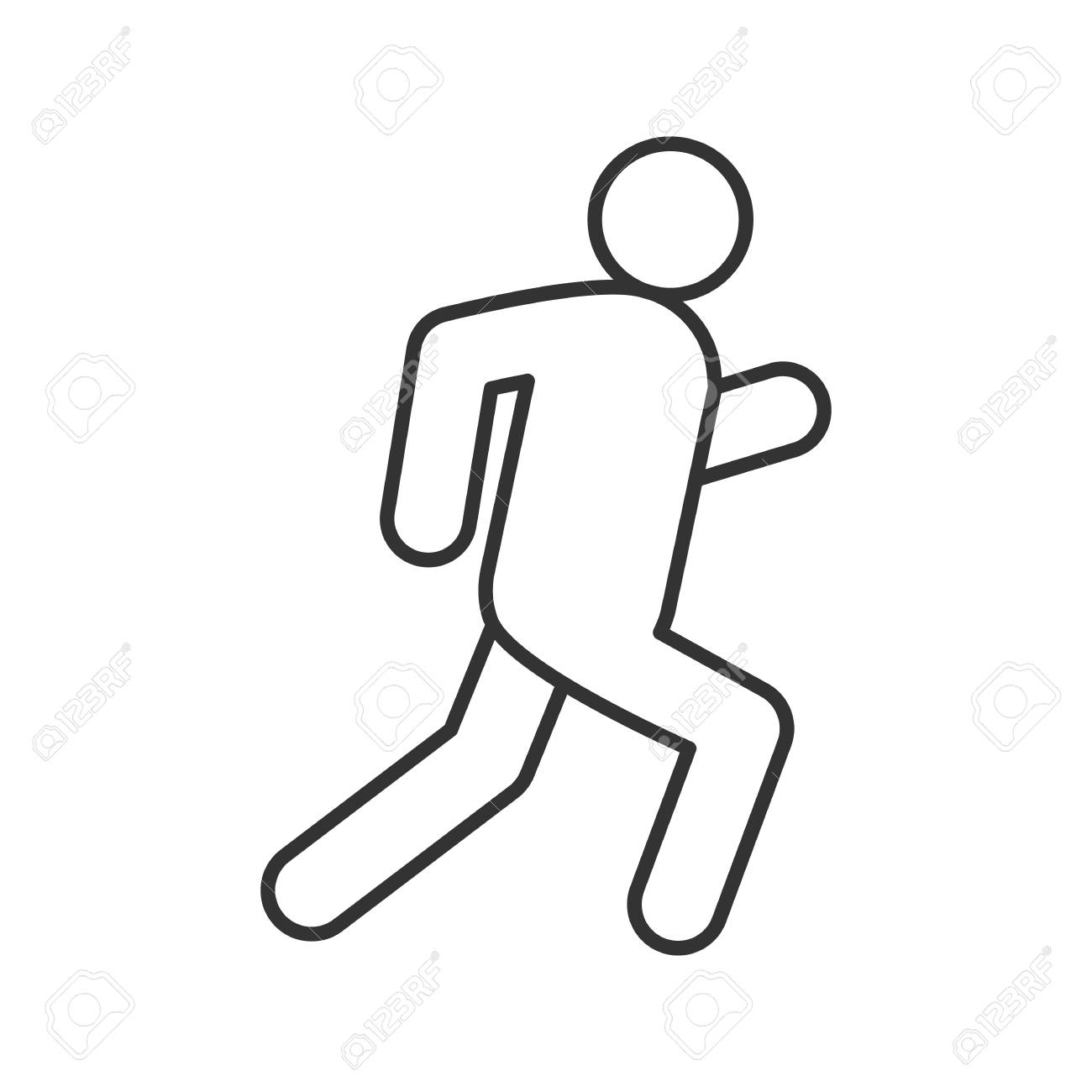 Running man linear icon escape thin line drawing jogging contour symbol isolated vector