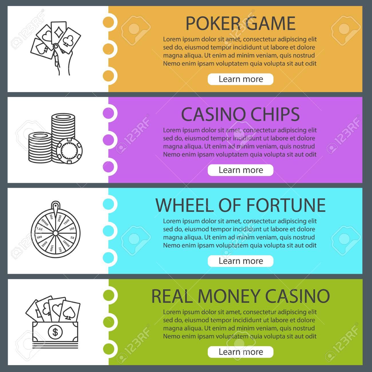 Casino web banner templates set  Poker, casino chips, wheel of