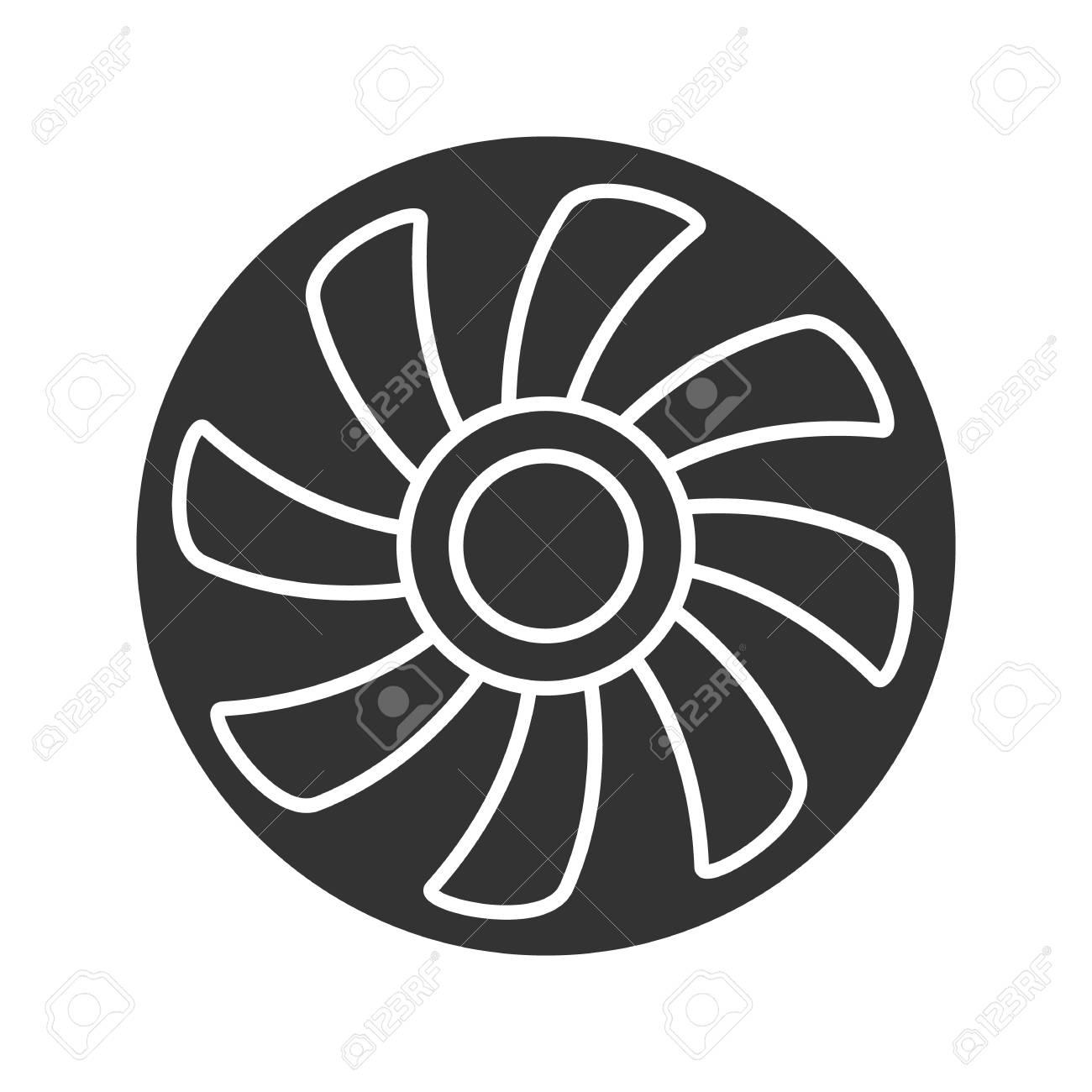 Exhaust Fan Glyph Icon Silhouette Symbol Air Ventilation Negative