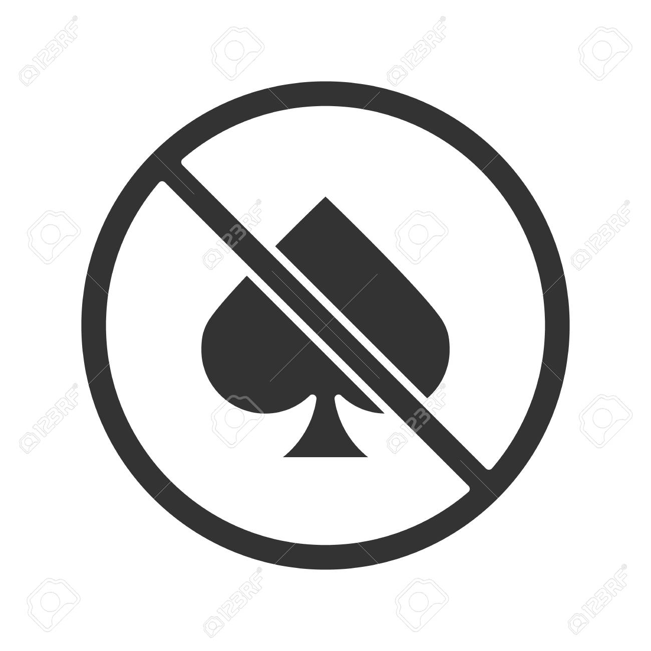 spade card no  Forbidden sign with spade card suit glyph icon. Silhouette symbol...