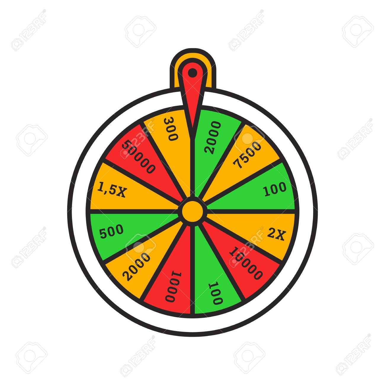 Wheel Of Fortune Color Icon Roulette Lucky Wheel Isolated