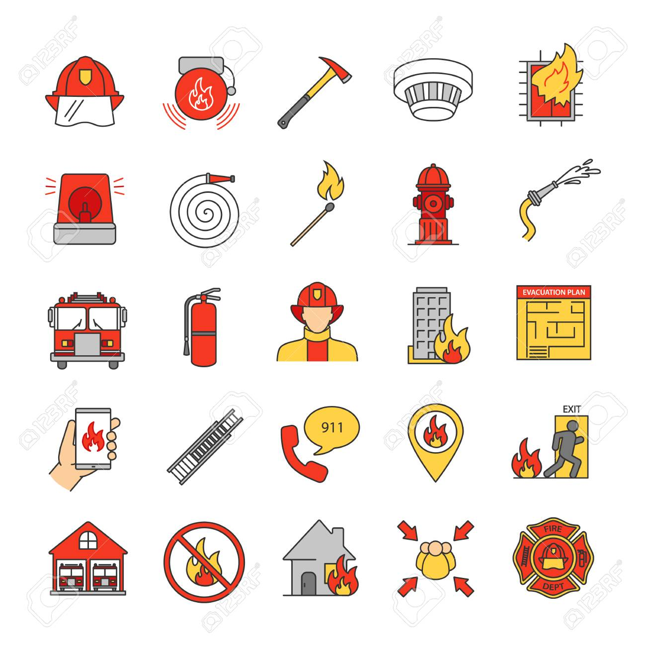 Firefighter Vector Firefighting Equipment Firehose Hydrant And.. Royalty  Free Cliparts, Vectors, And Stock Illustration. Image 109391682.