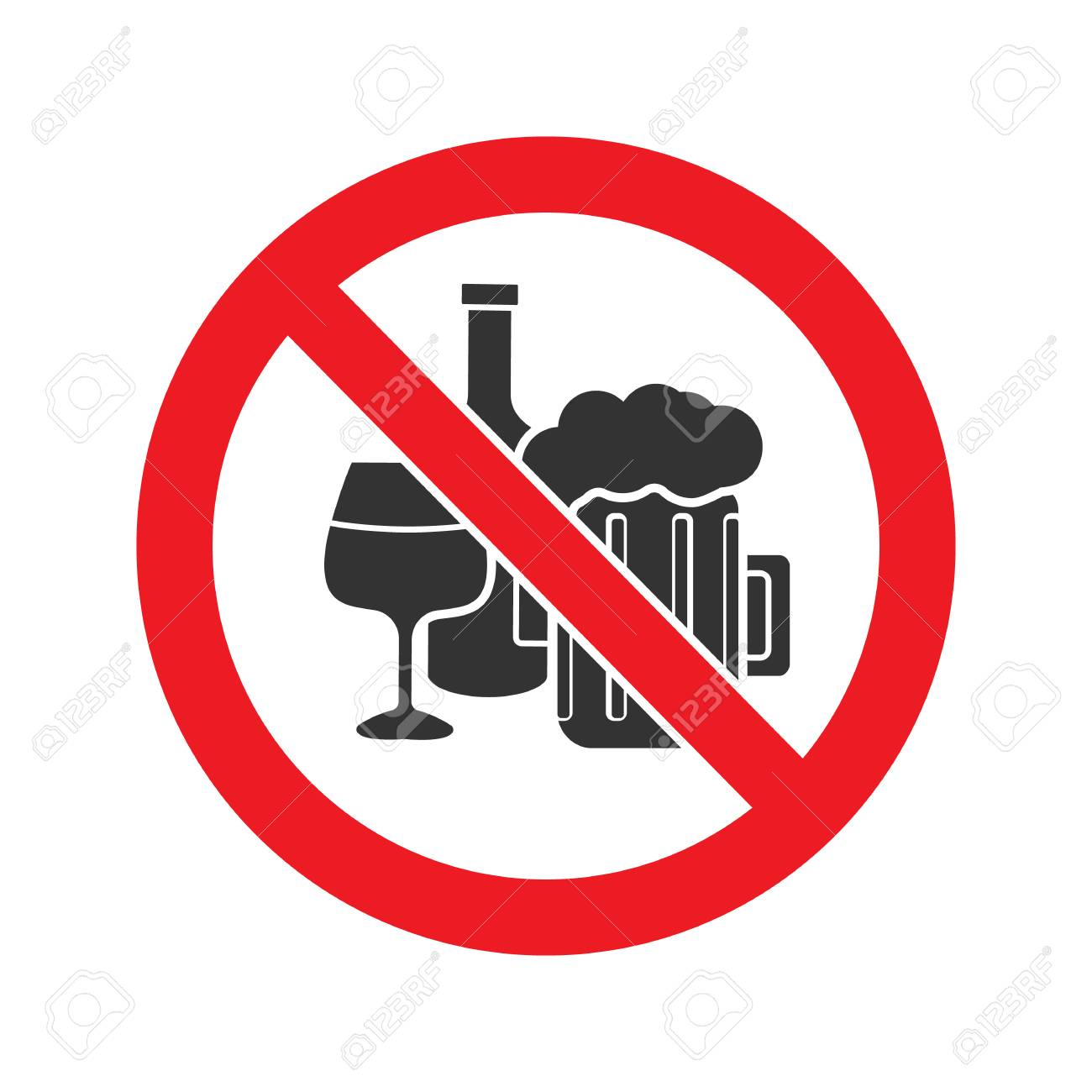 Forbidden sign with alcohol drinks glyph icon Vector isolated illustration - 98892561