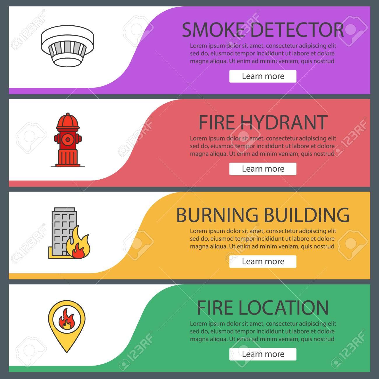 firefighting web banner templates set smoke detector hydrant