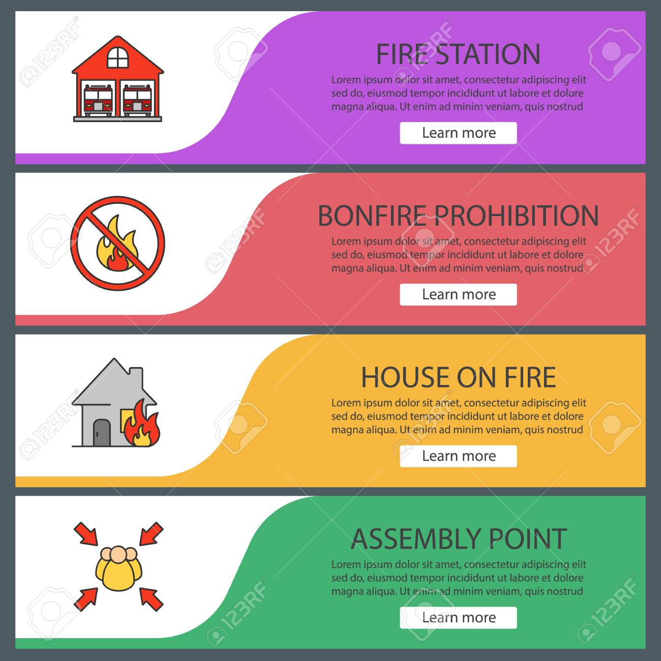 firefighting web banner templates set fire station bonfire