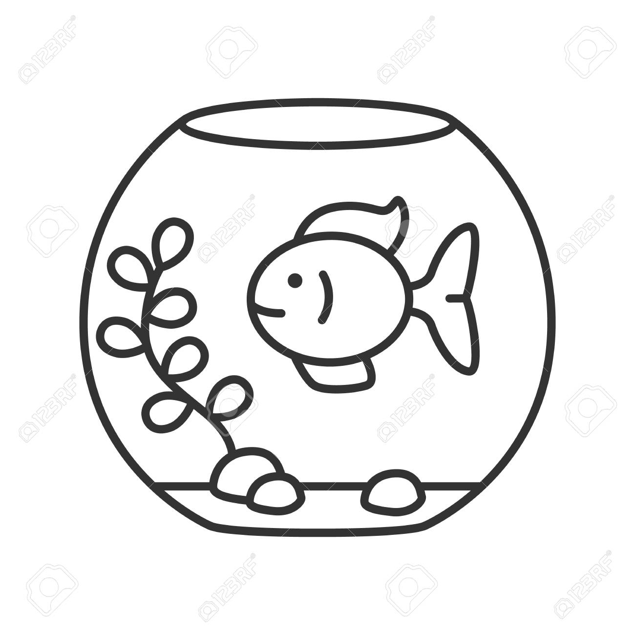 Aquarium Linear Icon Thin Line Illustration Fishkeeping Fish Royalty Free Cliparts Vectors And Stock Illustration Image 99459557
