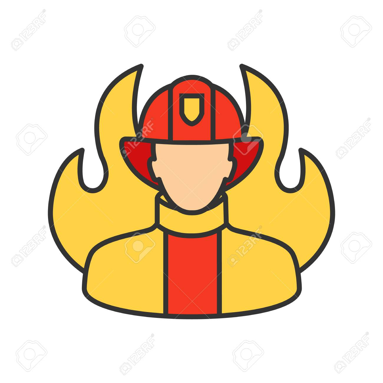 Firefighter Color Icon. Fireman. Isolated Vector Illustration ...