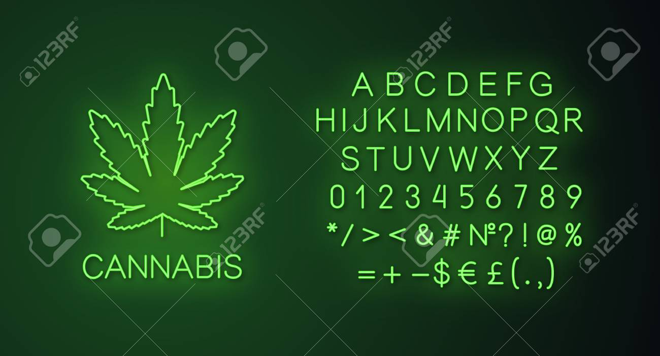 Marijuana Leaf Neon Light Banner Template Cannabis Website