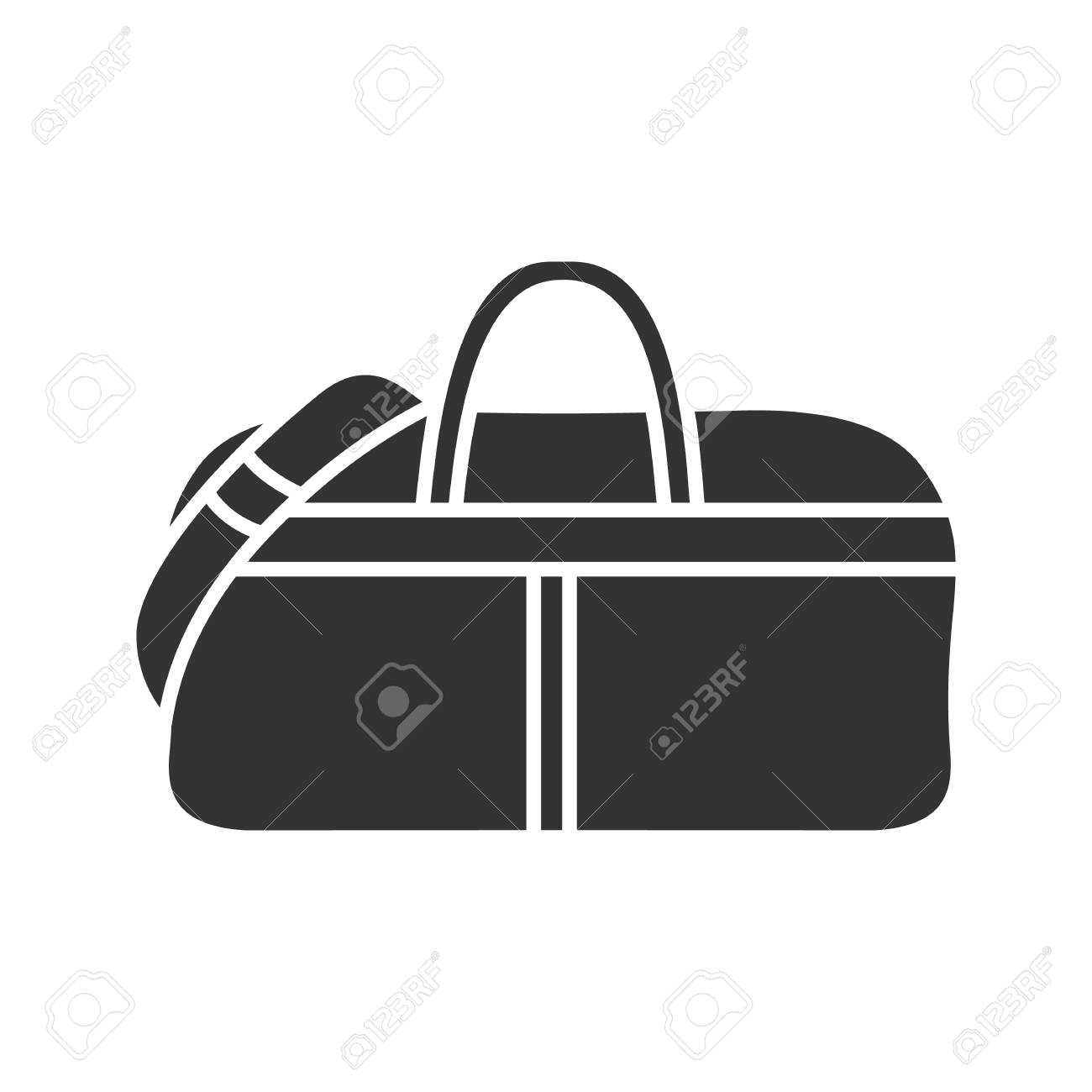 7c3c42d18b Sports bag glyph icon. Duffel handbag. Silhouette symbol. Negative space.  Vector isolated