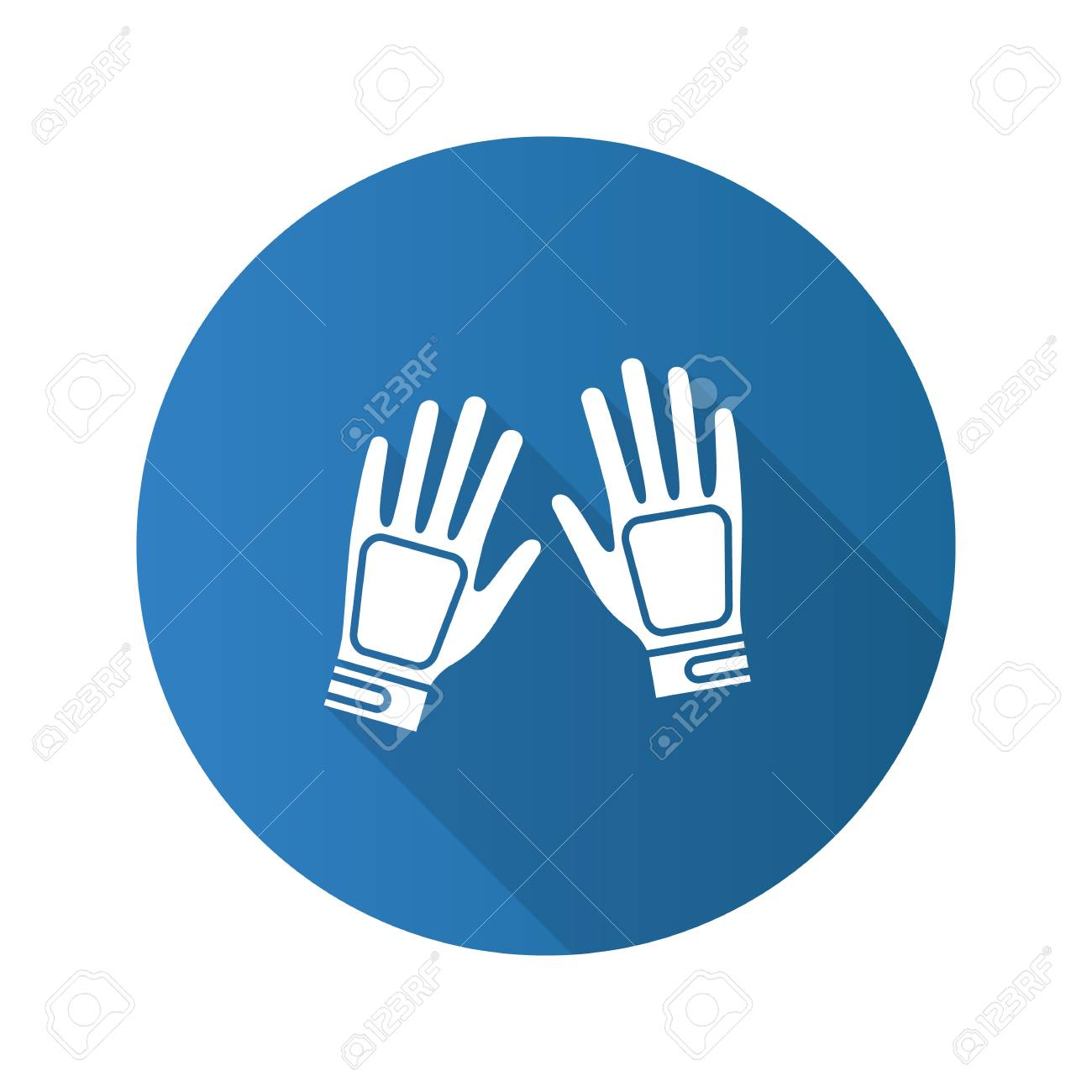 gloves flat design long shadow glyph icon vector silhouette