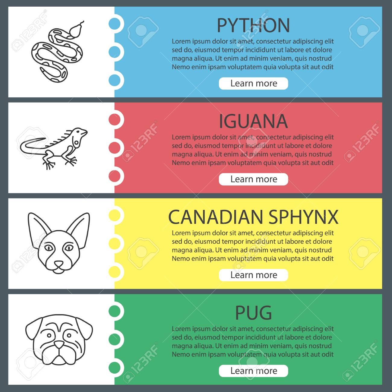 Pets Web Banner Templates Set. Python, Iguana, Canadian Sphynx ...