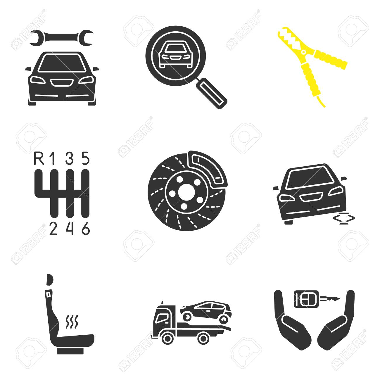 Auto workshop glyph icons set  Repair service, car searching,