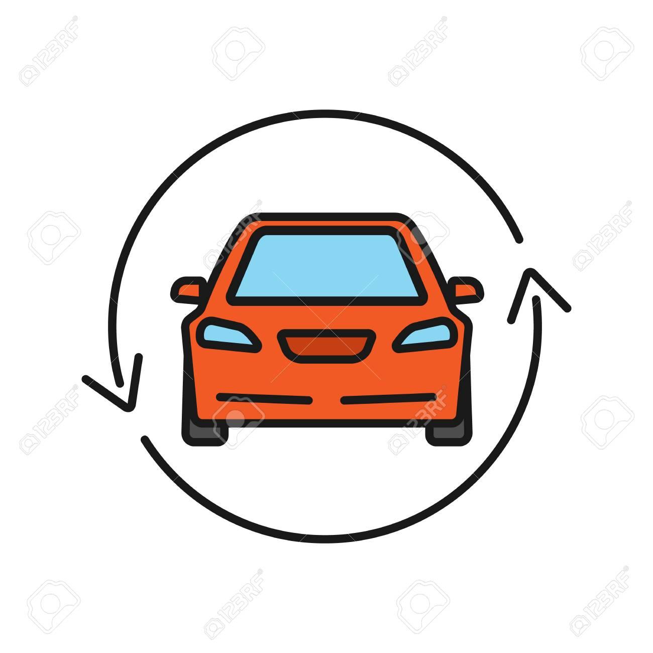 Car With Circle Arrow Color Icon Complete Automobile Repair