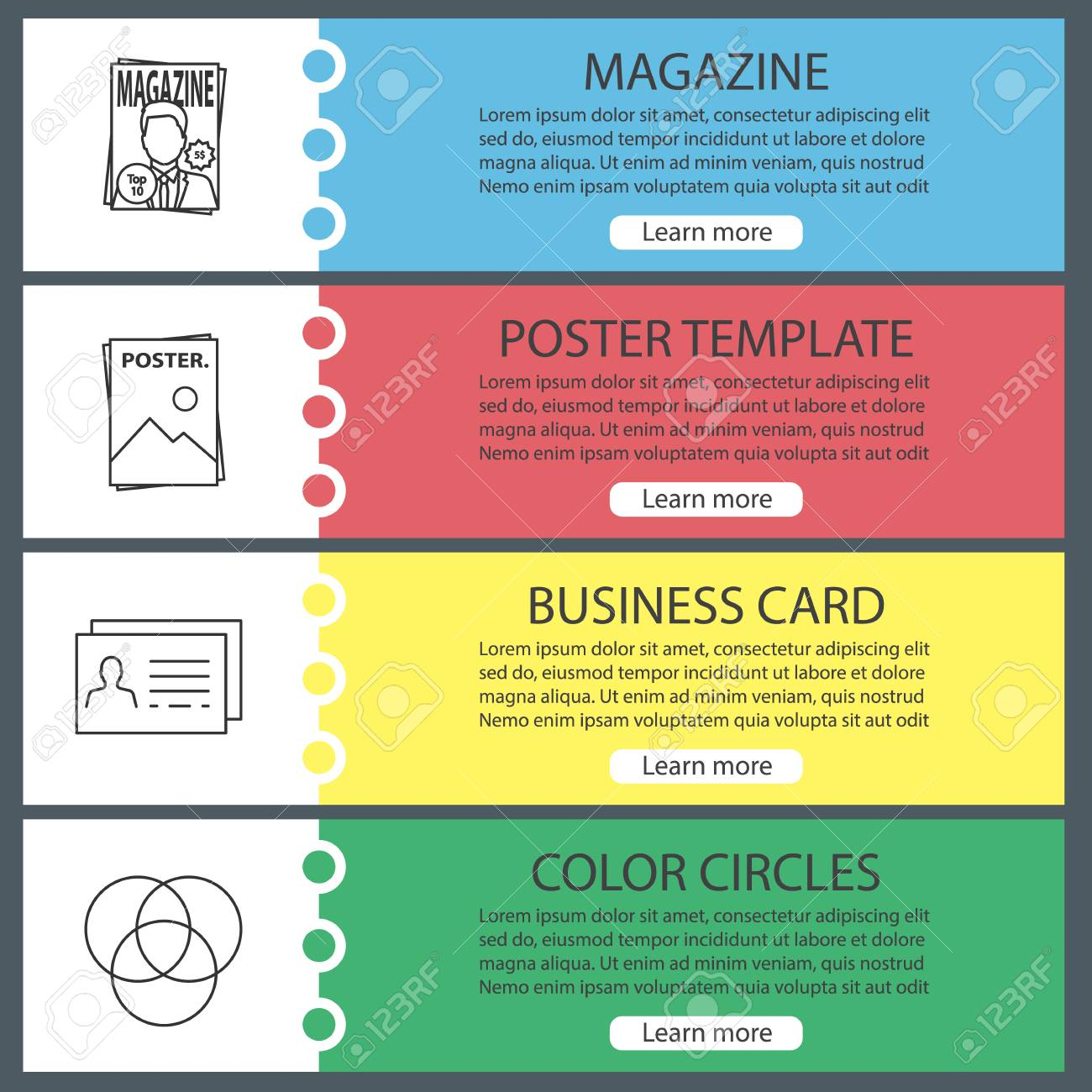 printing web banner templates set polygraphy and typography