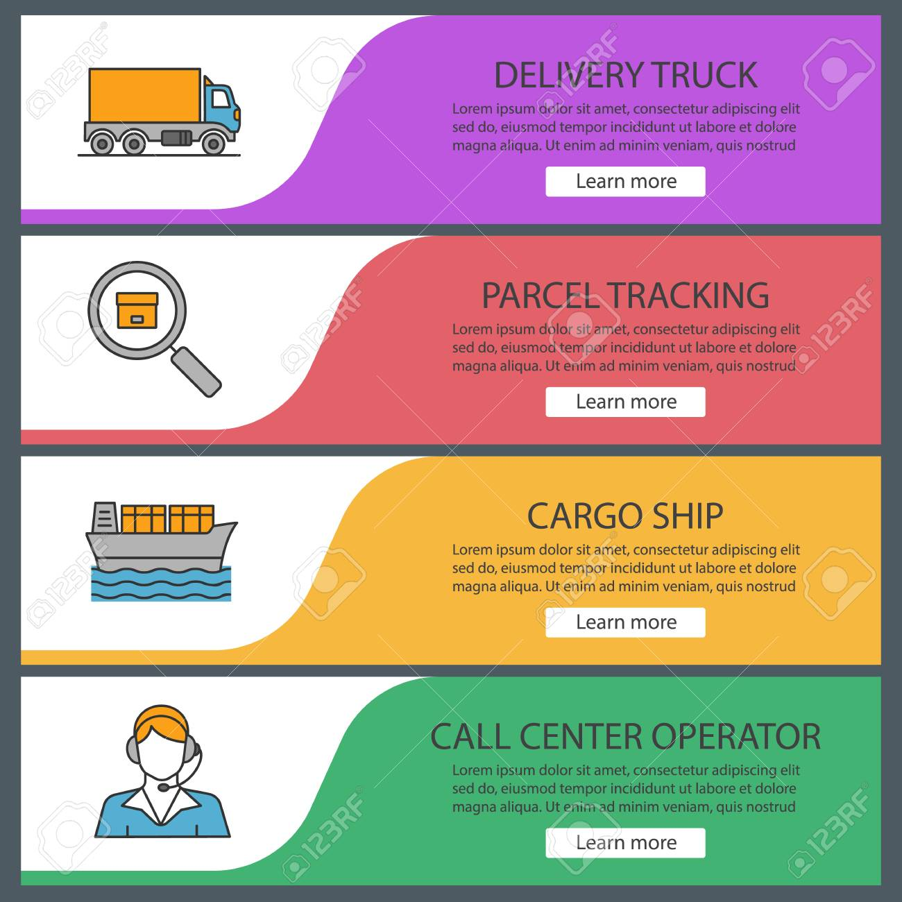 Cargo shipping web banner templates set  Delivery truck, parcel