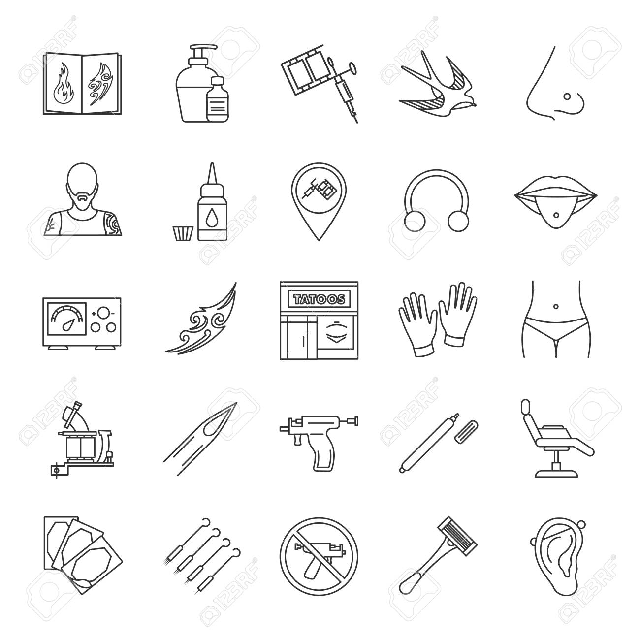 Tattoo Studio Linear Icons Set Piercing Service Tattoo Sketches Royalty Free Cliparts Vectors And Stock Illustration Image 103763787