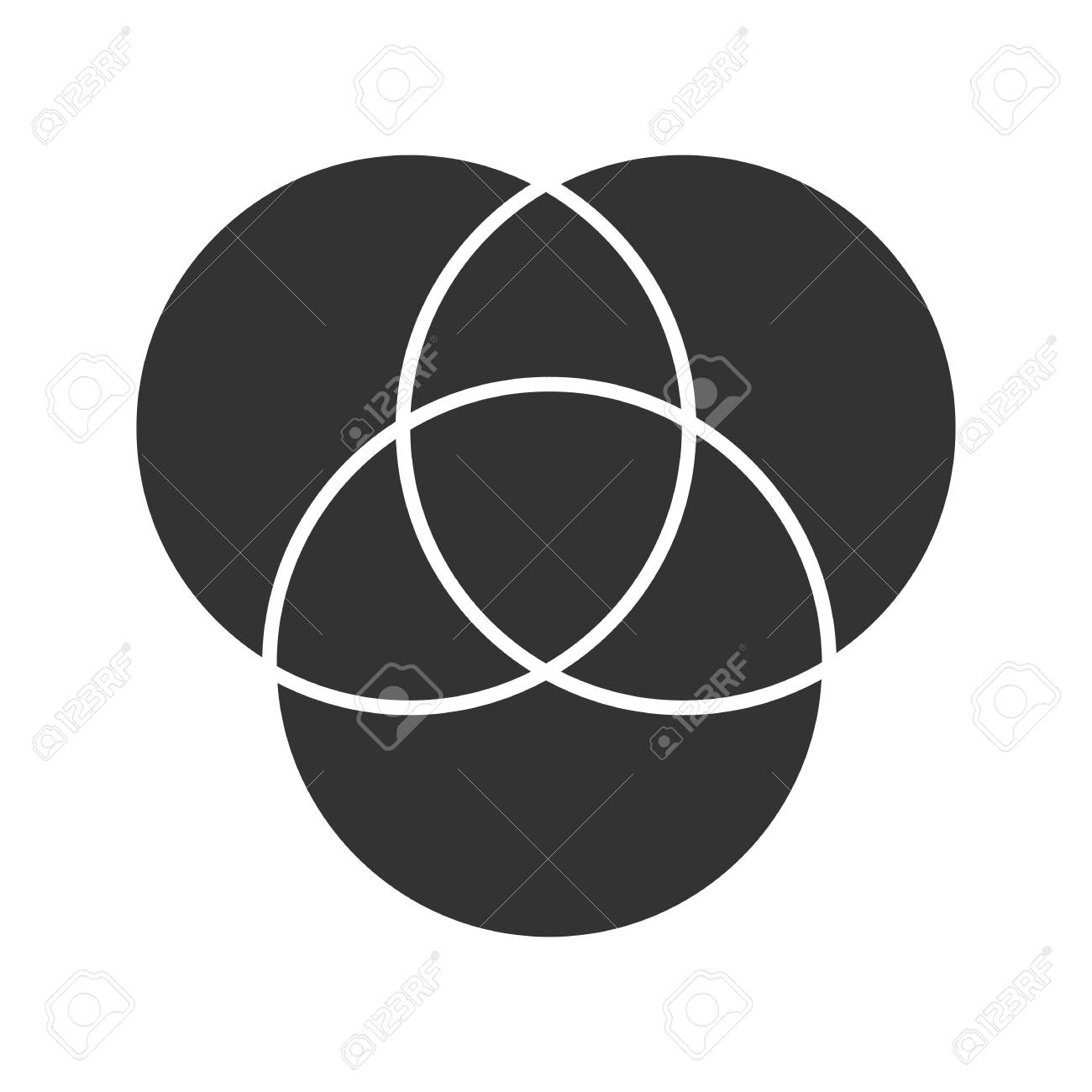 cmyk or rgb color circles glyph icon  silhouette symbol  venn diagram   overlapping circles