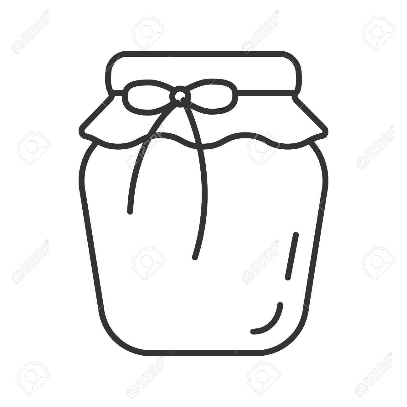 Strawberry jam jar linear icon. Thin line illustration. Fruit preserve. Contour symbol. Vector isolated outline drawing - 104121772