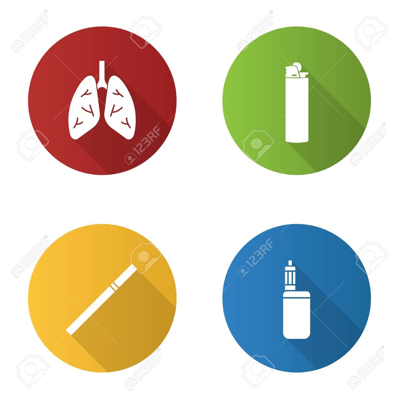 Smoking flat design long shadow glyph icons set  Human lungs,