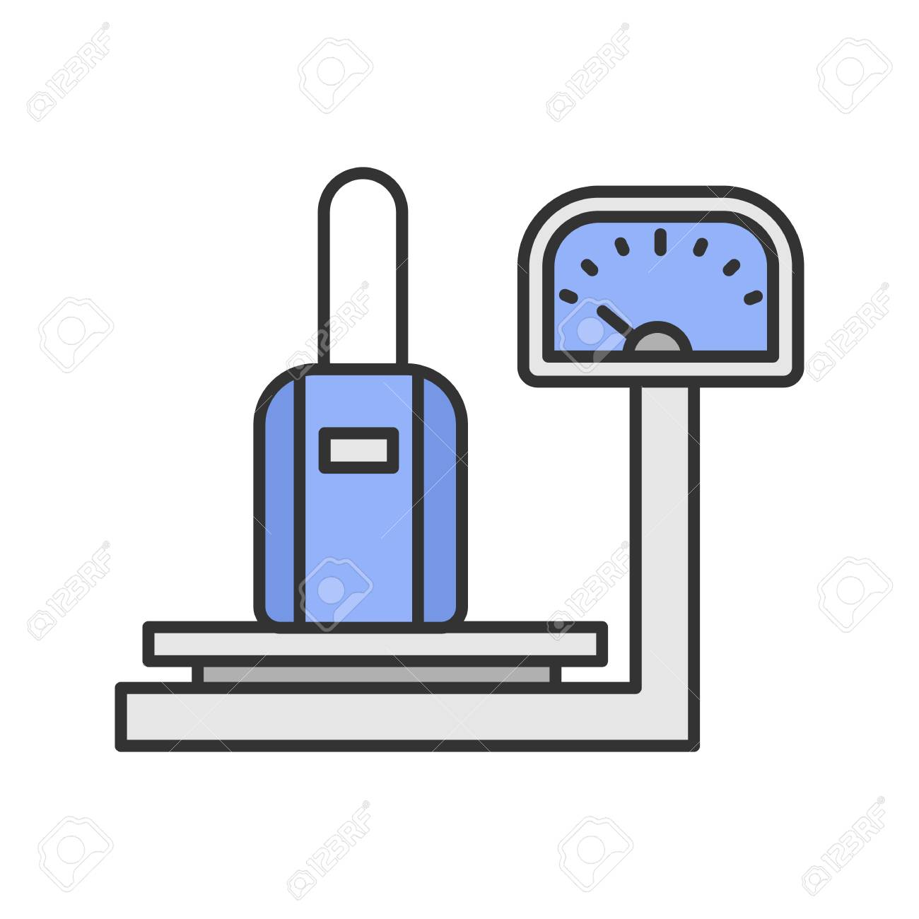 Baggage scales color icon. Luggage weight checking. Isolated vector illustration - 104263986